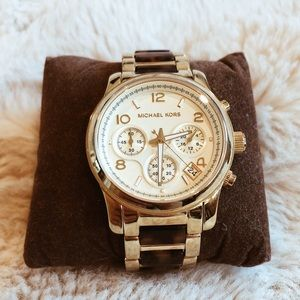 Michael Kors tortoise and gold watch